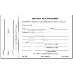 24A - Perforated Library Reading Permit